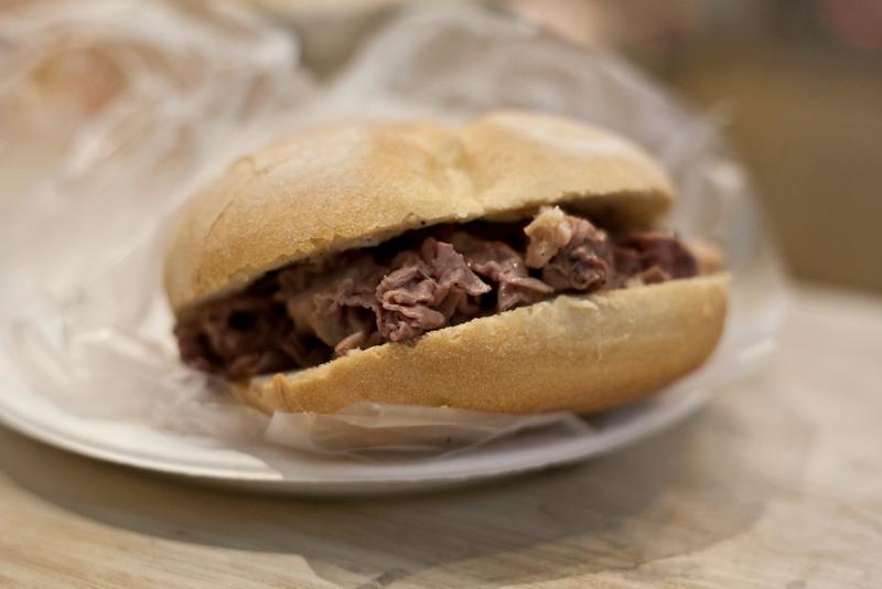 I Magnifici: panino al lampredotto di Nigro con gorgonzola di Parola.